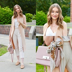 Taylor Doucette - Boohoo Sleeveless Trench Coat, Zara White Tank, Babaton Nude Crepe Pants, Michael Kors Pink Purse, Forever 21 Mules - Better Days - Hedley