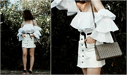 Theoni Argyropoulou - Miss Off The Shoulder Ruffled Top, Zan White Denim Skirt, H&M Shoulder Bag, Belt, H&M Shoes - White denim & ruffles on somethingvogue.com