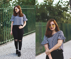 Marcia B - Zaful Checked Top, Rosegal Yellow Sunnies - CHECKED