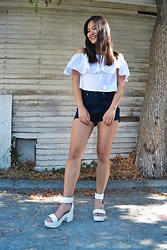 Grace Martinez - Forever 21 Off The Shoulder Top, Forever 21 High Waisted Denim Shorts, Boohoo Cleared Sandal - Black & White