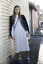 Olivia G - Vans Sneakers, Opp Shop Midi Skirt, Faux Leather Jacket - Mild Winter