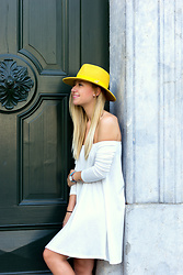 The Blonde Bliss - The Blonde Bliss Hat, More Details On - Yellow hat x off the shoulder dress