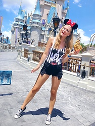 Sydney Hoffman - Urban Outfitters Mickey One Piece, Bluenotes Black Jean Shorts, Converse Black - HAPPY
