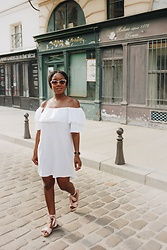 Laura Owusu - Pull & Bear Over The Shoulder White Dress, New Look Pink Ribbon Sandals, H&M Sunglasses - Romantic soul, Paris