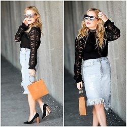Zia Domic - Xcvi Lace Top, Zara Denim Skirt - Denim & Lace