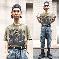 @KiD - 2pac Tupac Tee, Warrior Of Radness Camouflaged Pants, Puma Hussein Chalayan - Japanese Trash184