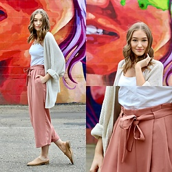 Taylor Doucette - Zara Dusty Rose Culottes, Aeropostale Oversized Knit Cardigan, Forever 21 Leather Mules - Look What You Made Me Do - Taylor Swift