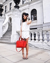 Christie Ashley - Vero Moda Draped Top, Zara Asymmetric Skorg, Stuart Weitzman Ankle Strap Heels, Coach Selena Grace Bag - SELENA