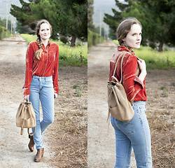Emily S. - Holding Horses   Anthropologie Velvet Shirt, Gap Backpack, Levi's® Jeans, Lucky Brand Booties - Denim & Velvet