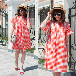 Christina&Karina Vartanovy - Asos Straw Boater Hat, Parfois Metal Sunglasses, Romwe Red Gingham Ruffle Sleeve Bow Tie Dress, H&M Grey Mini Bag, Asos Italy Espadrille Slip On Flat Shoes - Kristina // electric love