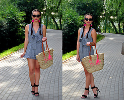Natalia Uliasz - Mohito Sunglasses, Dresslily Earrings, Dresslily Vichy Romper, Bonprix Beach Bag, Deezee.Pl Sandals - Vichy jumpsuit