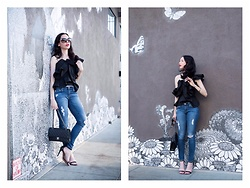 Lisa Valerie Morgan - Alpha And Omega Top, Adriano Goldschmied Jeans, Schutz Sandals - How to Style A Ruffle Top