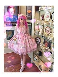 Lily P - Offbrand Lavender Tea Parties, Angelic Pretty Jewel Marine Jsk In Pink, Vintage / Thrifted Cream Ribbon Beret, Thrifted Pink Sheer Nighty Overcoat, Vintage / Thrifted White Wicker Purse - (ؔᶿ̷⌔ؔᶿ̷) j e w e l ?m a r i n e !!!