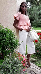 PAMELA - Storets Tiffany Ruffle Layered Top, Prada White Leather Bag, Zara White Culottes Pants, Sam Edelman Metallic Strap Sandals, Marc By Jacobs Butterfly Sunglasses - RUFFLES DREAM