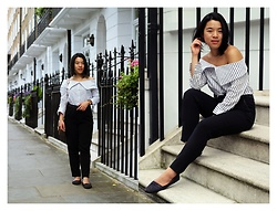 Thuy Pham - Dune Shoulder Bag, H&M Pants, Boohoo Off Shoulder Shirt - The modern working woman