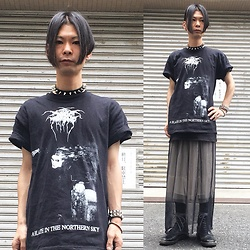 @KiD - Dark Throne Black Metal Tee, Funk Plus Studs Choker, Lowrys Farm White Skirt, Proud Race Meshed Skirt, Dr. Martens 10hole Boots, Funk Plus Studs Bracelet - Japanese Trash190