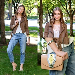 Taylor Doucette - Urban Outfitters Silver Cuff Bangle, Vero Moda Crochet Top, Zaful Taupe Suede Jacket, Citizens Of Humanity Liya Slim Boyfriend Denim, Zara Pink Crossbody Purse With Chain - Just Another Girl - The Killers