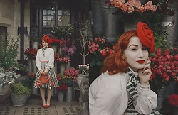 Roberta D. - 1950s Skirt, Madison Avenue Blouse, Joanna Violet Hat, Kate Spade Bag - When The World Was At War We Kept Dancing