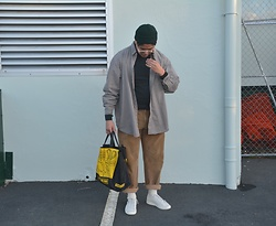 Miguel Valero - Asos Fisherman Beanie, Carhartt Plaid Shirt, Brooks Brothers Corduroy Pants, Puma Clyde - Pak n Save