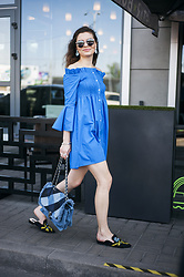 Mariia Shtanko - Mango Dress, Parfois Bag, Zaful Mules - Indigo dress code