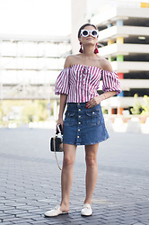 Mariia Shtanko - Mango Off Shoulder, Mango Skirt, Zaful Sunnies - STRIPES & DENIM