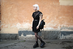 Thelma Malna - Asos Dress, Young Hungry Free Harness, H&M Backpack, Underground Triple Sole Creepers - HARNESS & CREEPERS