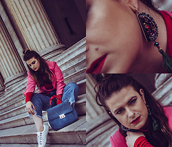 Jules - Reserved Blazer, Sisley Turtle Neck Top, Zara Distressed Denim Jeans, Zara Suede Bag, Tally Weijl Bandana, Reserved Sneakers, Mango Earrings - Distressed Denim with Red + Pink