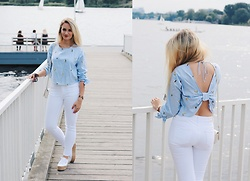 Vivien S. - Zara Avocado Shirt, Zara White Jeans, Superga Costropew, Zara Banana Bag - Backless Zara Avocado Shirt