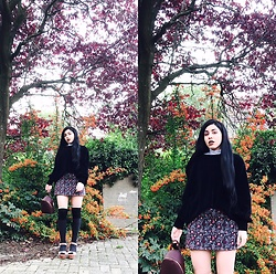 Jane - Zara Chenille Jumper, Bershka Mini Backpack, H&M Overknee Socks, Zara Velvet Platforms - Purple fall