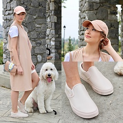 Taylor Doucette - Boohoo Nude Vest, Zara Basic White Tee, Aritzia White Denim Skirt, Vans Pastel Pink Leather, Aritzia Baseball Cap, Zara Bag - Obsession- Hedley
