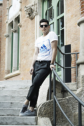 Danh Lastra - Burberry Metal Eyewear, Adidas Blue Printed Tshirt, Zara Leather Belt, Zara Classic Pants, Puma Glittery Sneakers - THE HEAT AND THOSE BRICK WALLS