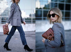 Jillian Lansky - Zara Plaid Blazer, J W Anderson Brown Leather Bag, Stuart Weitzman Black Suede Booties, Citizens Of Humanity Cropped Jeans, Celine Sunglasses - THE ONE TREND TO WEAR THIS FALL