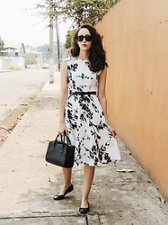 Camilla Brozzo - Ray Ban Sunglasses, Fashionmia Dress, Arezzo Bag, Mr. Cat Flats - Black and white for Spring