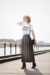 Esra E. - Monki Statement Tee, Asos Metallic Midi Skirt - CHOOSE PEACE
