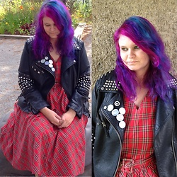 M Aniara - Dolly And Dotty Tartan Dress, Lindex Faux Leather Jacket (Diy) - Punk junk
