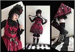 Lou Graves - Medusa Couture Bat Bonnet, Alice And The Pirates Vampire Requiem Jsk, Yosukeusa Buckle Ankle Boots - The Red Twin