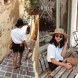Tiffany Wang - Madewell Shirt, Levi's® Shorts, Lack Of Color Hat - WAITING FOR ESPRESSO