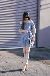 Danielle F - Asos Striped Ruffle Dress, Louis Vuitton Off The Shoulder Purse, Ann Taylor Low Heels - Frilly Frock