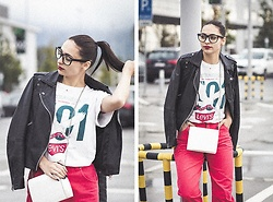 Nasklee Petush Kay - Mango Leather Jacket, Diesel Red Jeans, Pull & Bear White Chain Bag, Levi's® Oversized T - TLK NRDY TO ME