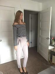 Cindy Batchelor - Amazon Gray Crop Tie Front Trouser $14, Amazon Black And White Striped Off The Shoulder Top $17 - Gray Crop Trousers and Black and White Striped Top