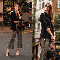 Jacky - Gucci Bag -  One piece, two trends: plaid button down pants