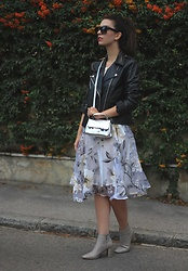 Jelena - Mango Leather Jacket, Saint Laurent Black Sunglasses, Urban Outfitters Silver Bag, Zara Ankle Boots - Flower dress