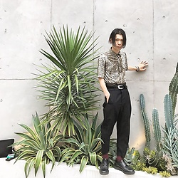 @KiD - Rockmount Leopard Shirts, Ch. High Waisted Pants, George Cox Rubber Sole, Funk Plus Studs Bracelet - Japanese Trash201