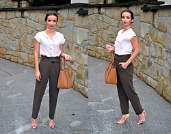 Natalia Uliasz - Dresslily Choker, Mohito Blouse, Mango High Waisted Pants, Wittchen Bag, Deezee Embroidered Heels - Classic retro
