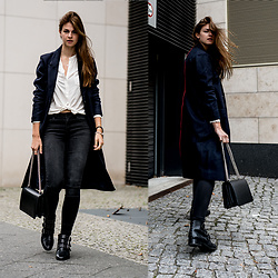Jacky - Asos Boots - Blue coat with red line