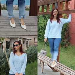 Rebel Takipte - Twinkledeals White Heels, Rosegal Baby Blue Sweater - Baby Blue