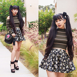 Doll Delight - Papaya Clothing Off Shoulder Ribbed Crop Top, Romwe Floral Skater Skirt, Steve Madden Embroidered Purse, Wild Diva Chunky Heels - Raven Rhapsody