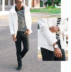Adelso G. - Stripe Jersey Polo Shirt T, Zara Greenland Down Jacket, Zerouv Glasses, Asos Watches - Look: Striped polo shirt