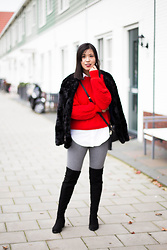 Vivian Tse - Mango Faux Fur Coat, H&M Chunky Knit, Zara Blouse, Zara Check Leggings, Manfield Over The Knee Boots - Fall ready