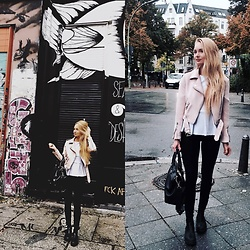 Esther E. - Pimkie Black Leggings, Zara Pale Pink Biker Jacket, H&M White Peplum Top, Vagabond Chelsea Boots, Zara City Office Bag - October 1st